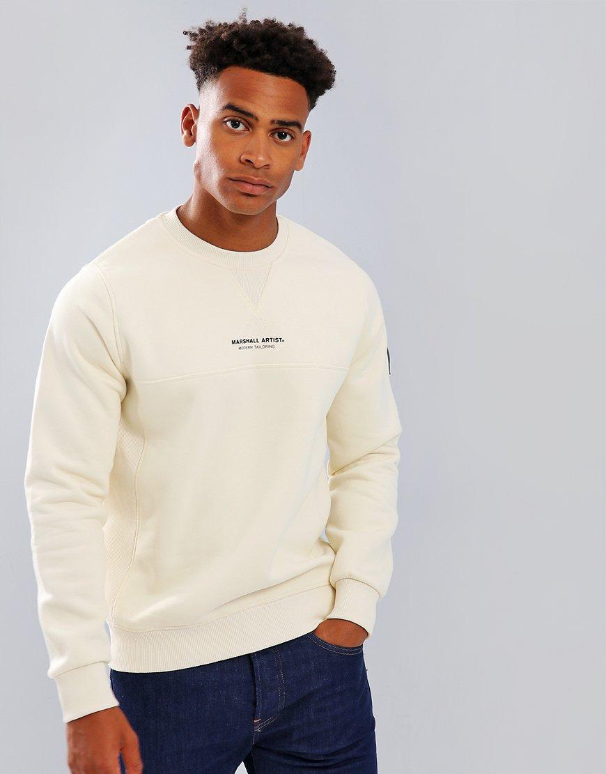 Marshall Artist Siren Garment Dyed Crew Neck Sweatshirt Off White