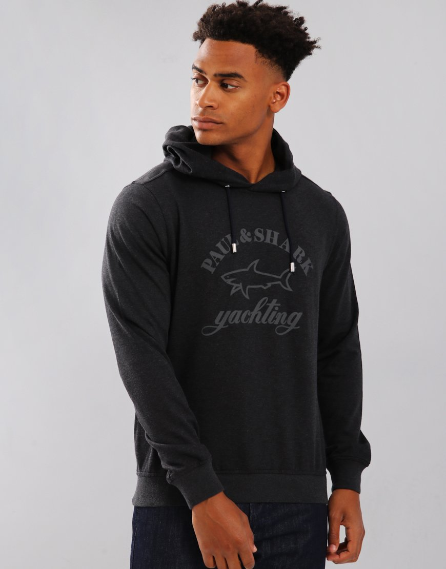 Paul & Shark Long Sleeve Hooded Sweatshirt Charcoal
