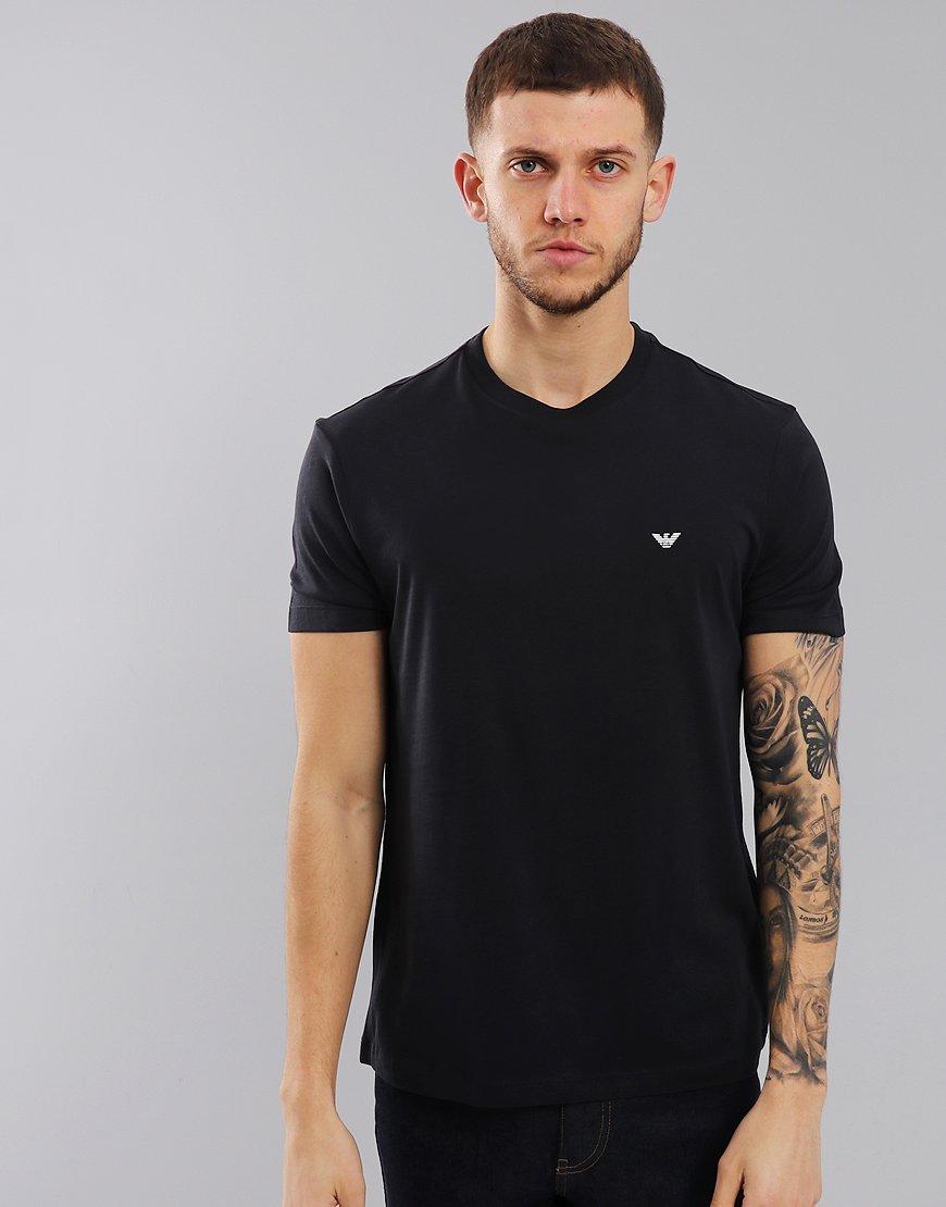 Emporio Armani Plain Pima Cotton T-Shirt Dark Blue