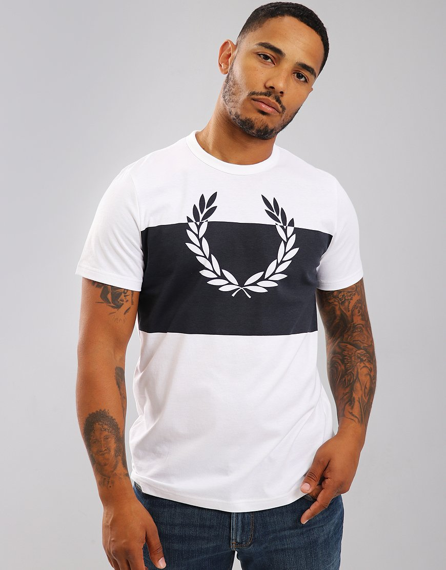 Fred Perry Block Laurel Wreath T-Shirt White