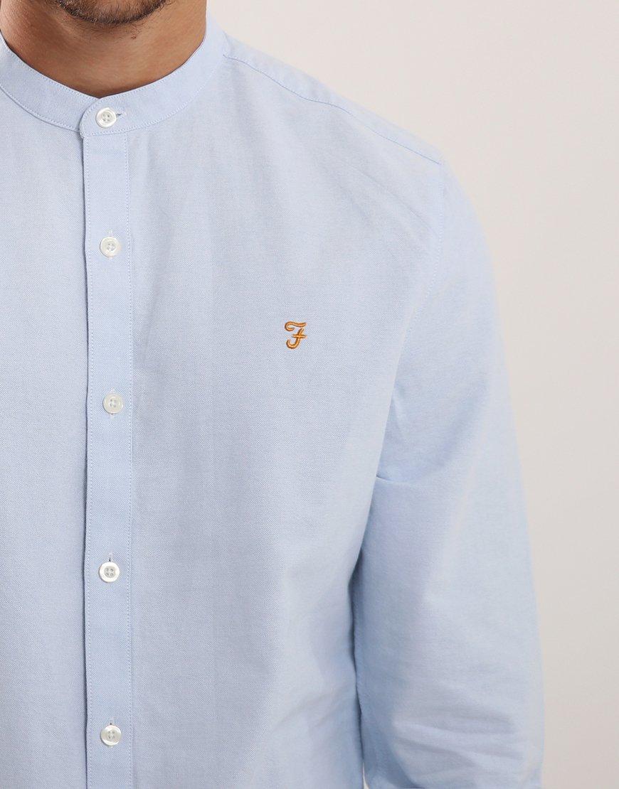 Farah Brewer Slim Grandad Shirt Sky Blue