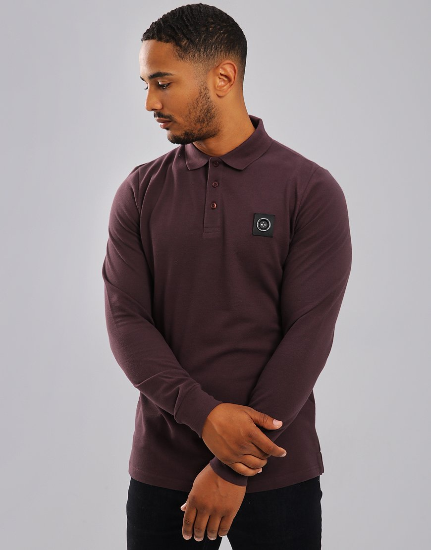 Marshall Artist Siren Long Sleeve Polo Shirt Burgundy