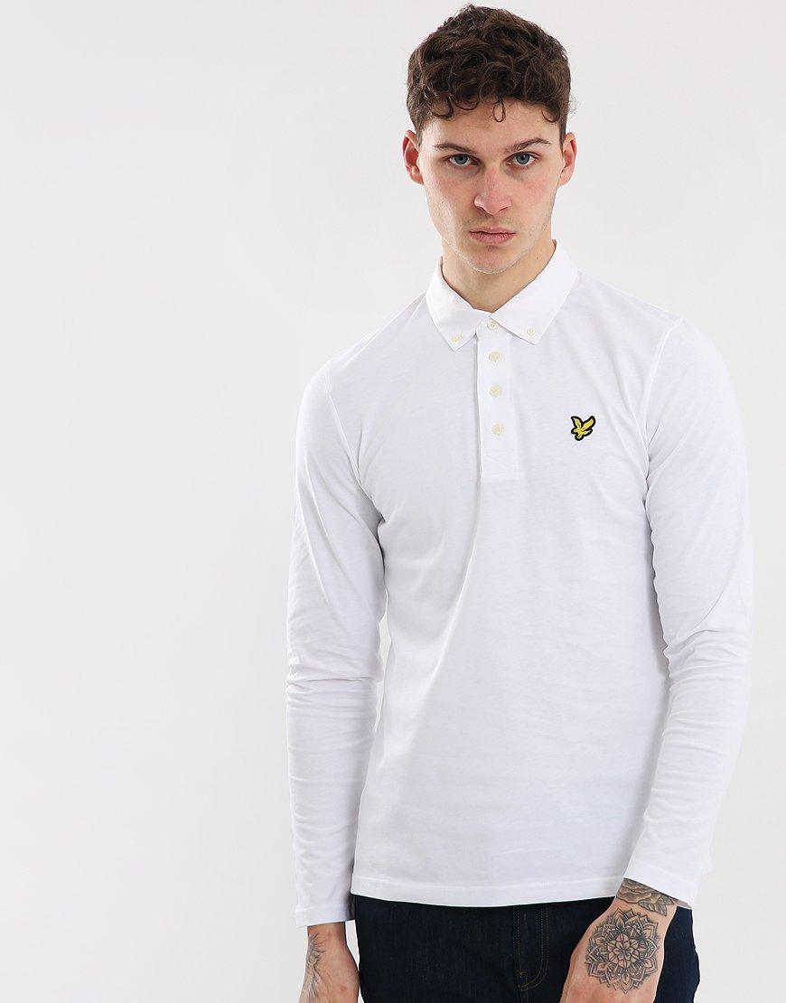 Lyle & Scott Long Sleeve Woven Collar Polo Shirt White