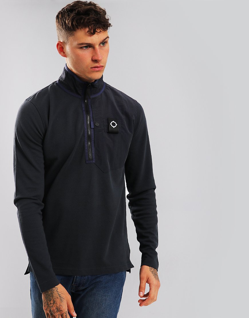 MA.Strum Pique Quarter Zip Sweat Navy