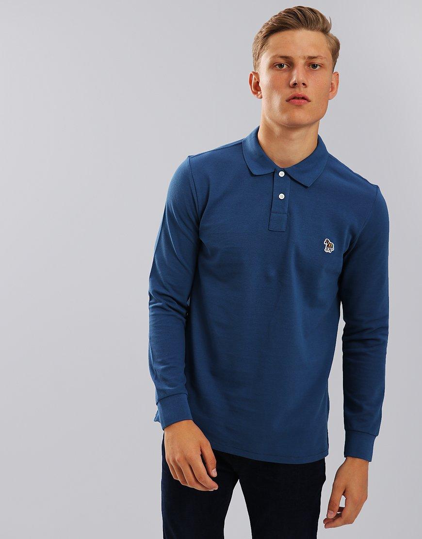 Paul Smith Long Sleeve Polo Shirt Blue