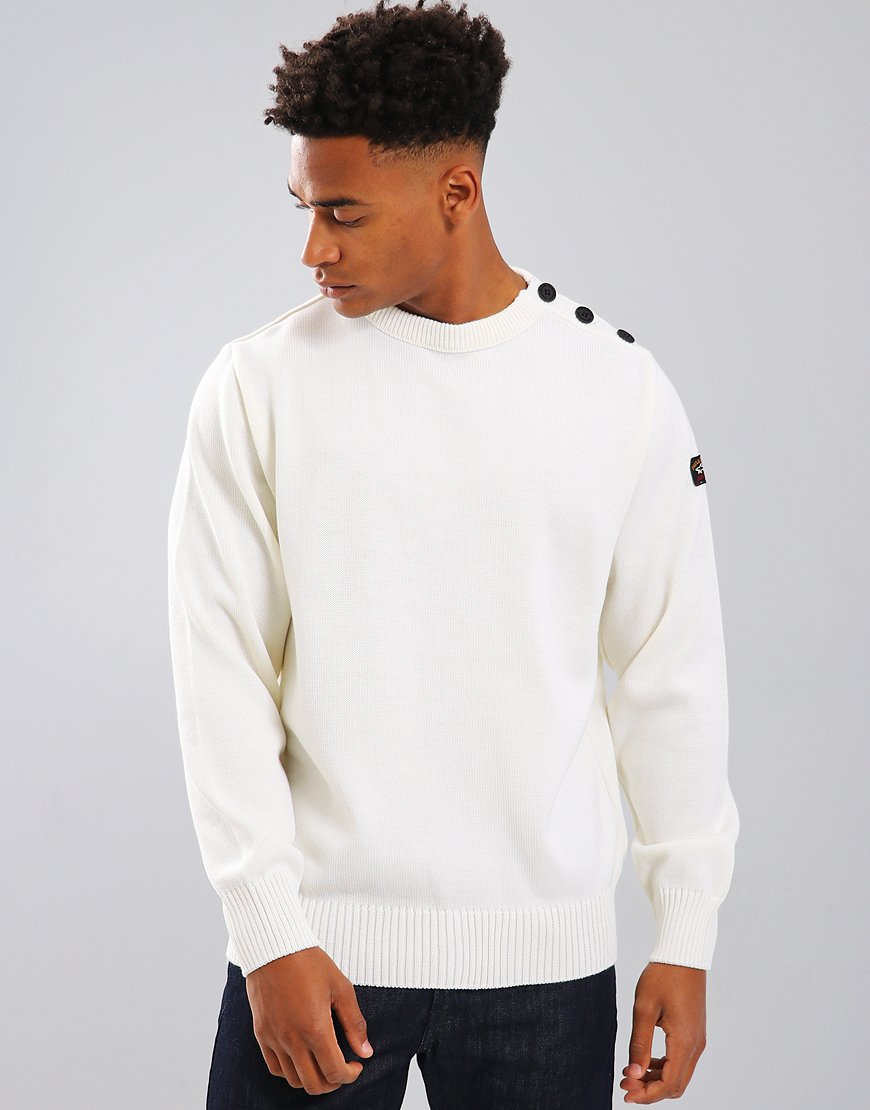 Paul & Shark Button Vent Crew Neck Jumper Off White