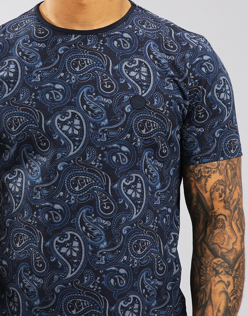 c2f73718d Pretty Green Paisley Print T-Shirt Navy - Terraces Menswear
