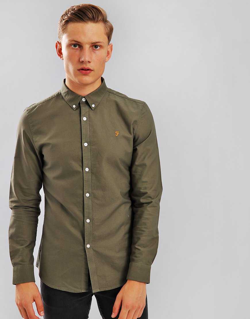Farah Brewer Long Sleeve Shirt Military Green