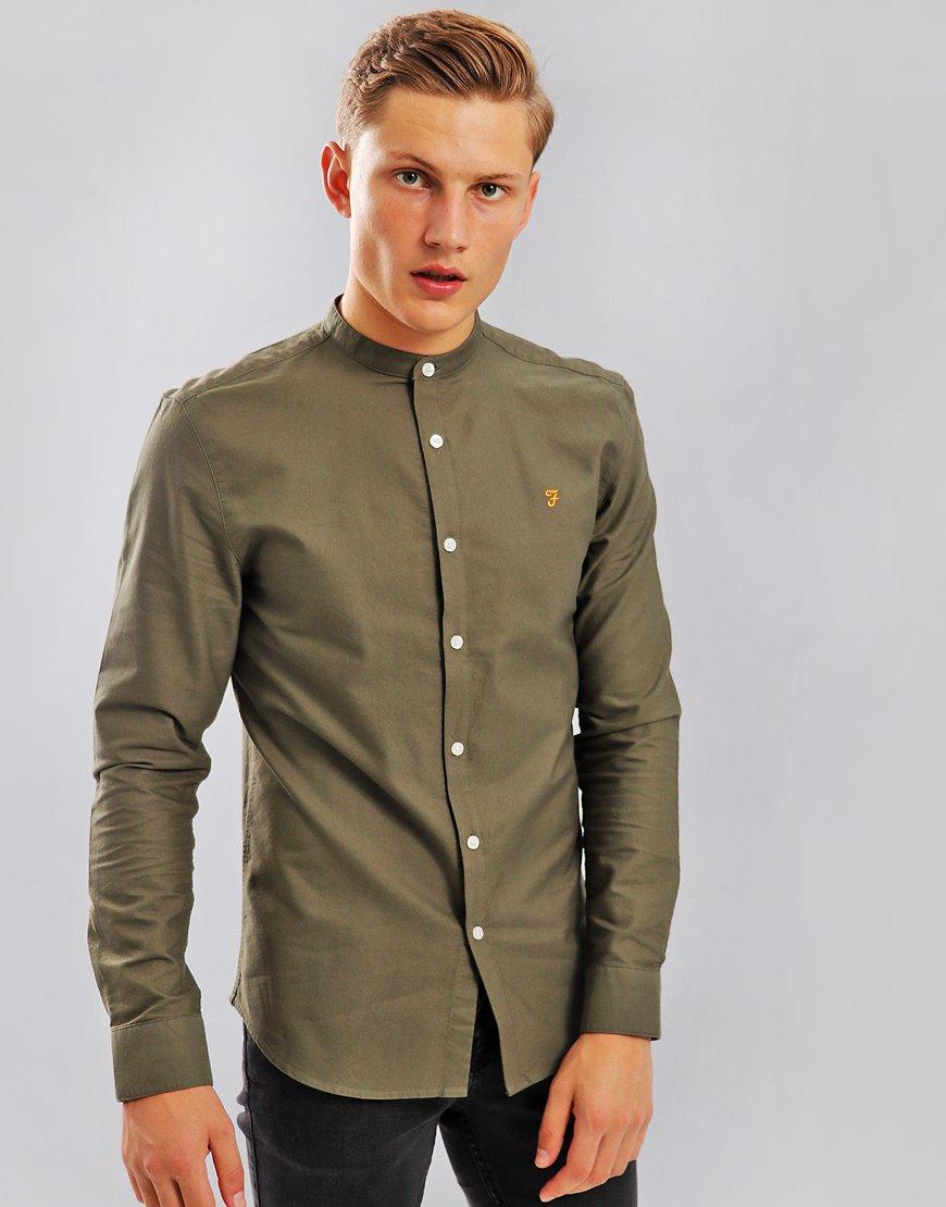 Farah Brewer Slim Grandad Shirt Military Green