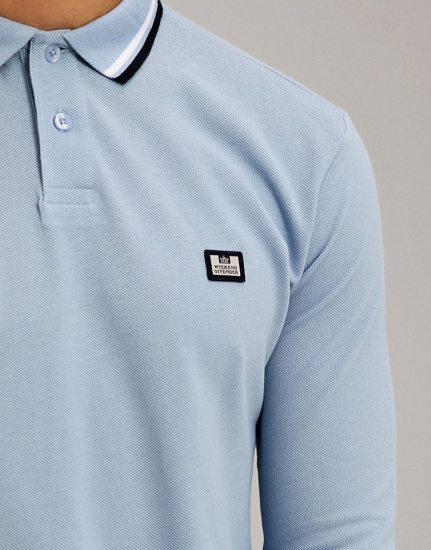 Weekend Offender Ibanez Long Sleeve Polo Shirt Sky