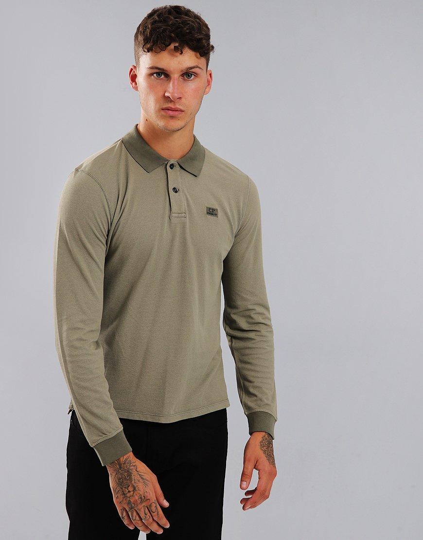 C.P Company Pique Long Sleeve Polo Shirt Sage