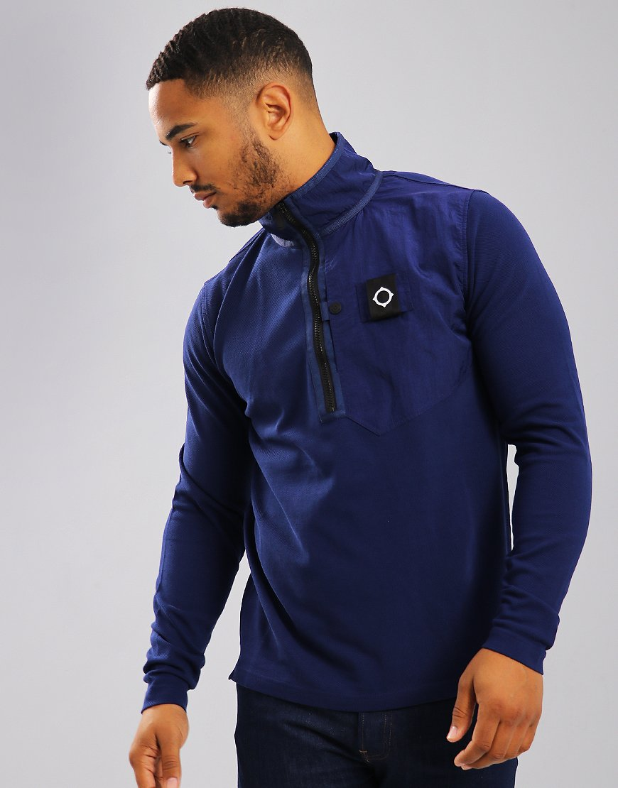 MA.Strum Pique Quarter Zip Sweat Indigo