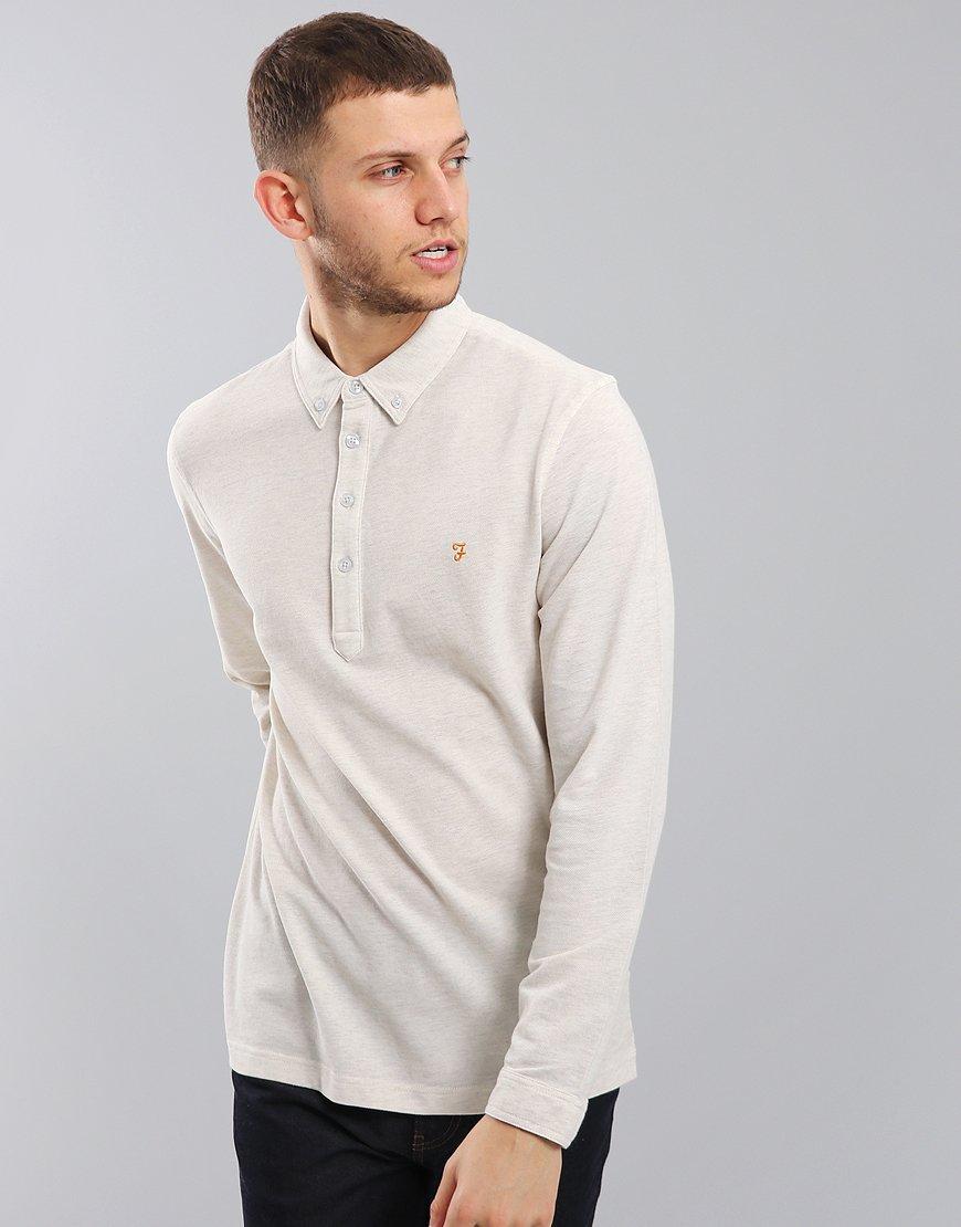 Farah Merriweather Long Sleeved Polo Shirt Chalk