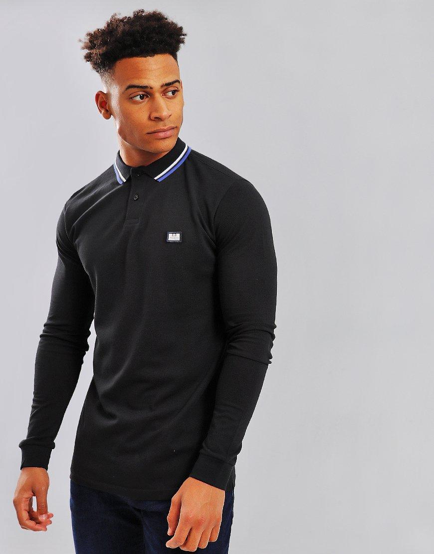 Weekend Offender Ibanez Long Sleeve Polo Shirt Black
