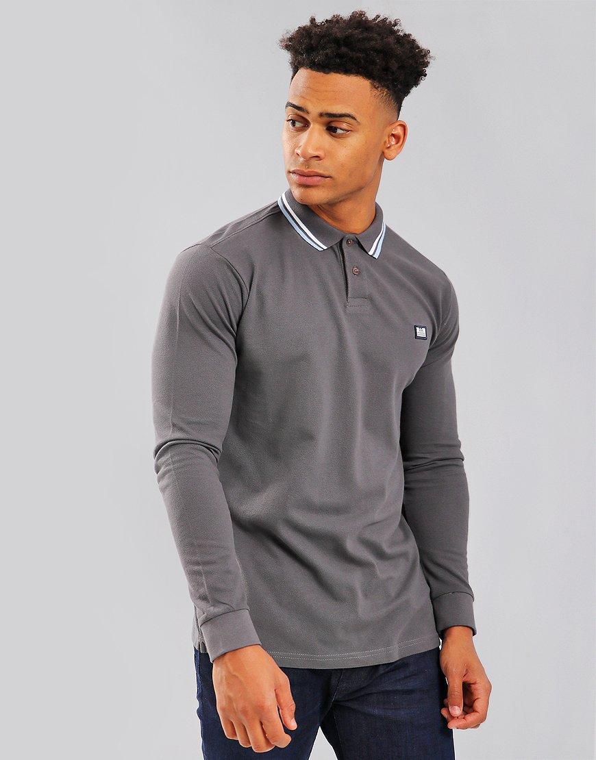 Weekend Offender Ibanez Long Sleeve Polo Shirt Charcoal