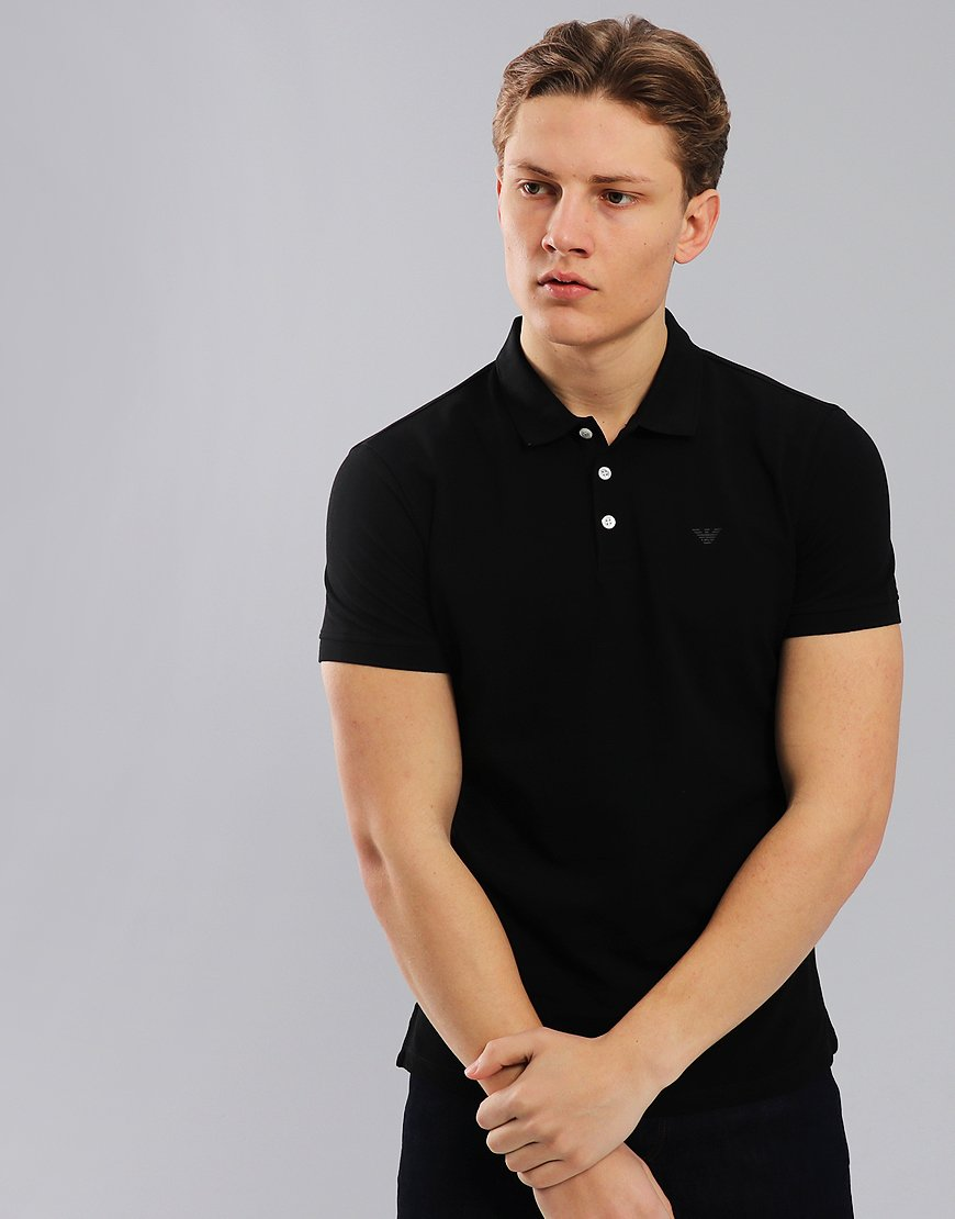 Emporio Armani Short Sleeve Polo Shirt Black