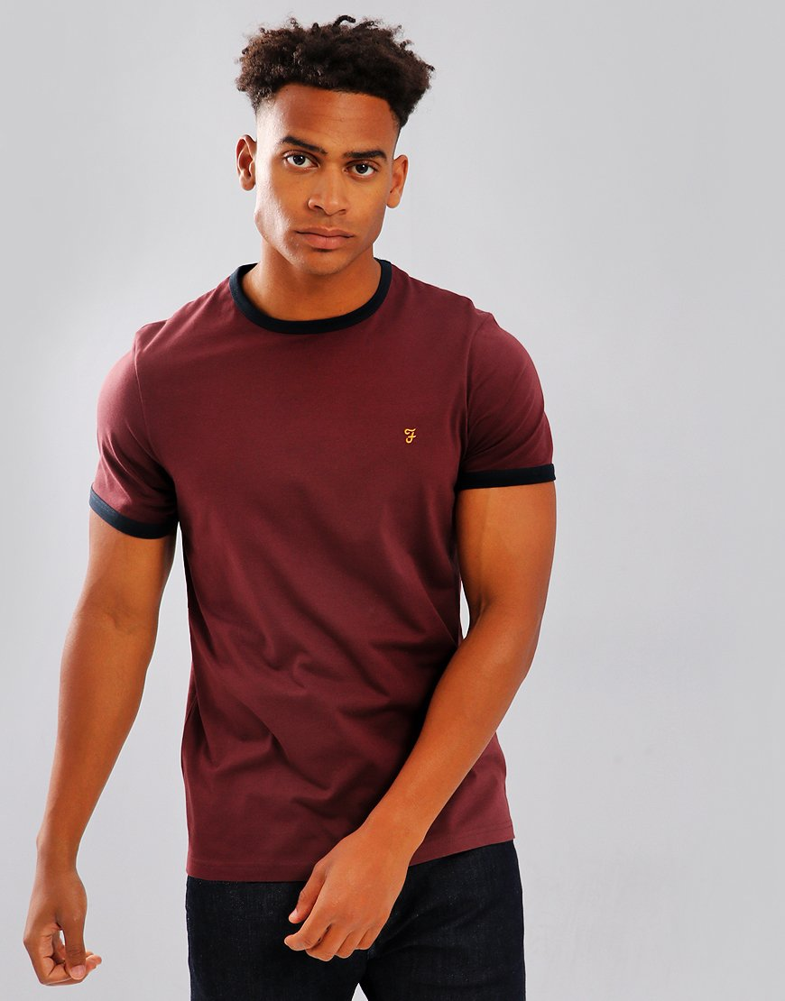 Farah Groves Ringer T-Shirt Red Marl