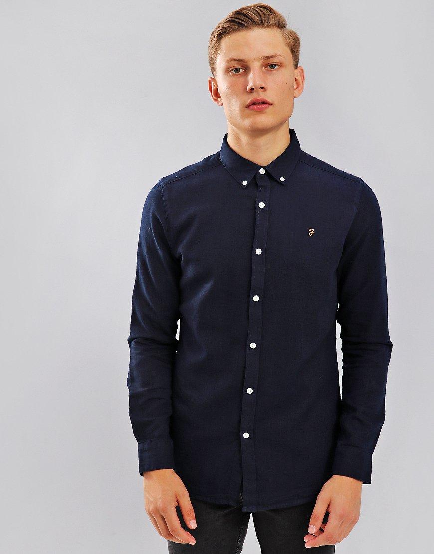 Farah Brewer Long Sleeve Shirt Mid Indigo