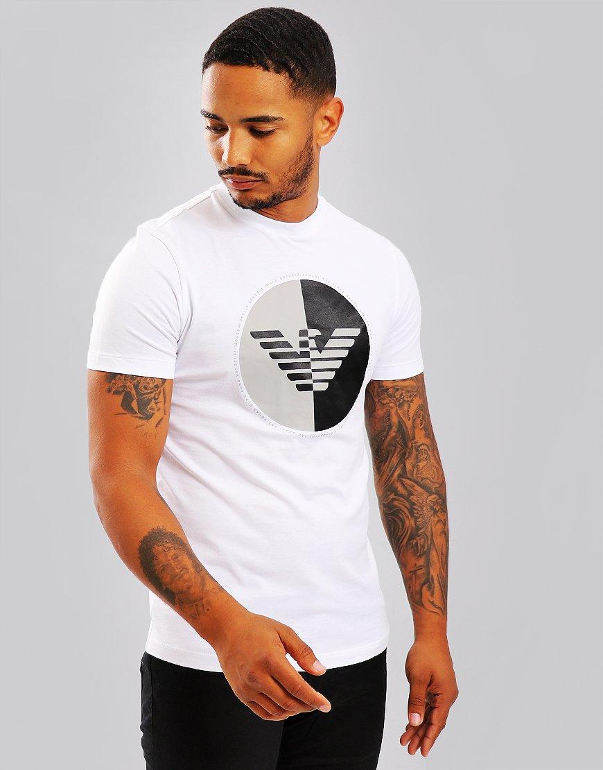 Emporio Armani Half Logo Print T-Shirt White