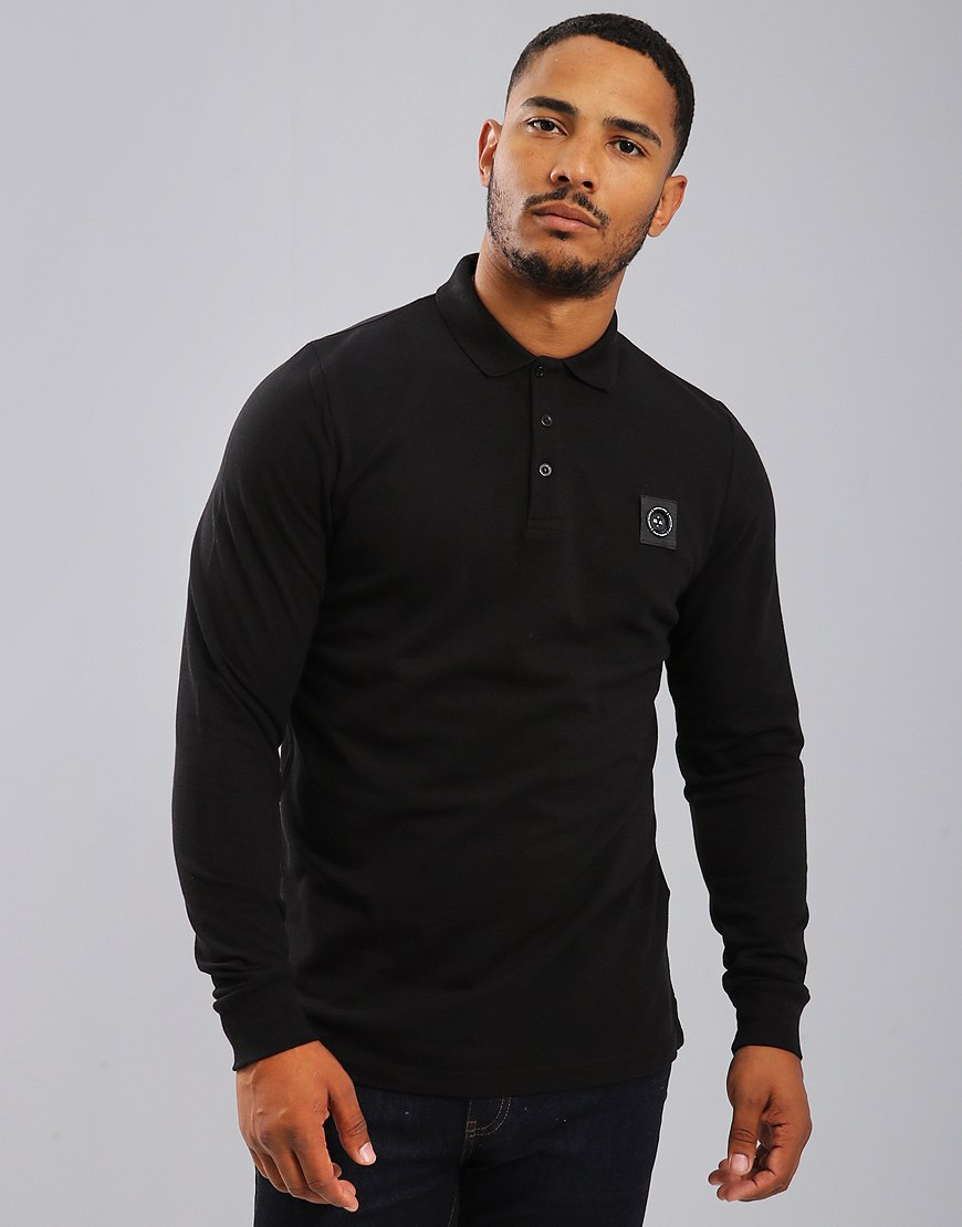 Marshall Artist Siren Long Sleeve Polo Shirt Black
