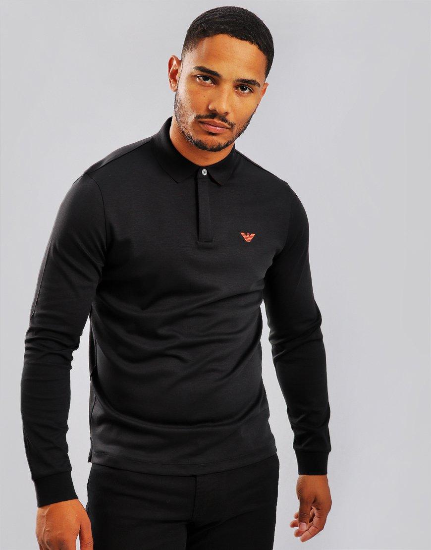 Emporio Armani Long Sleeve Polo Shirt Anthacite
