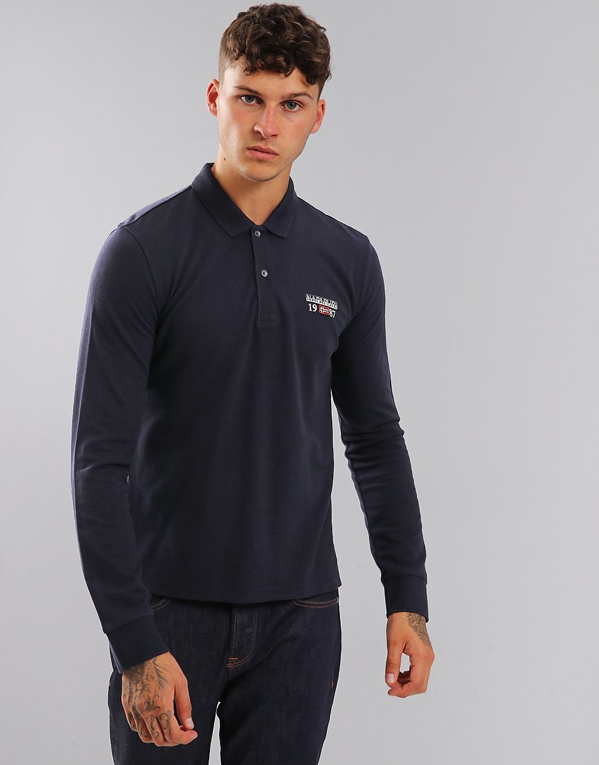 Napapijri Long Sleeve Erthow Polo Shirt Blue Marine