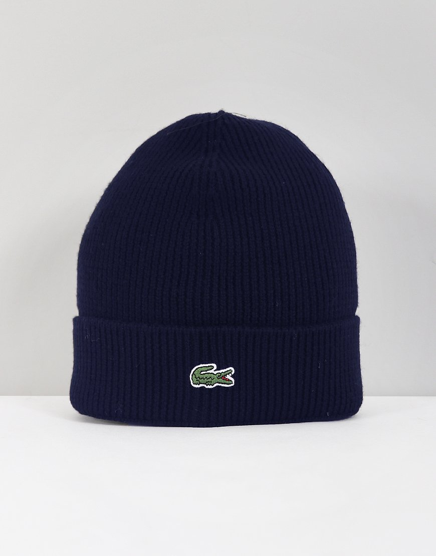 Lacoste Ribbed Cuff Beanie Navy