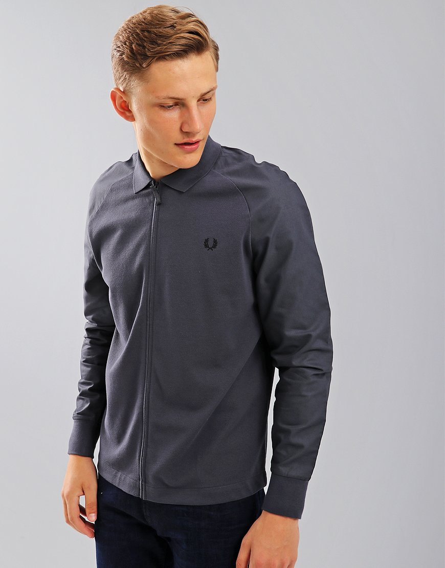 Fred Perry Raglan Zip Through Sweat Shirt Charcoal