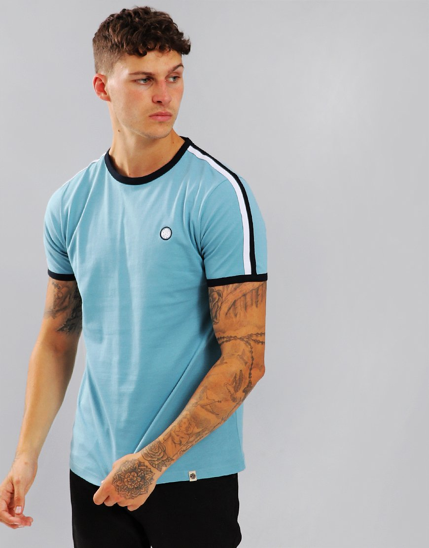 Pretty Green Tilby Moon Contrast Panel T-Shirt Light Blue