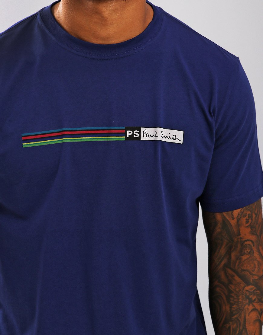 Paul Smith Cycle Stripe Logo T-Shirt Cobalt Blue