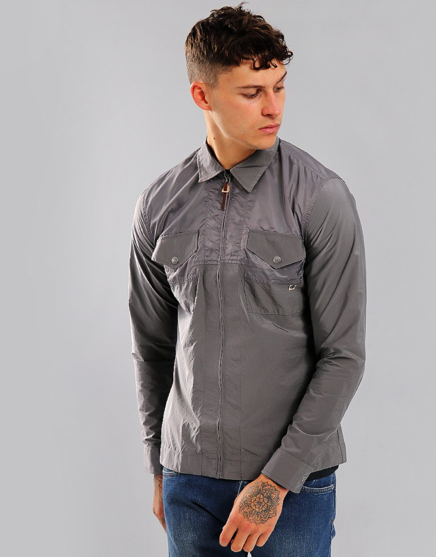 Pretty Green Robinia Iridescent Overshirt Metal Grey