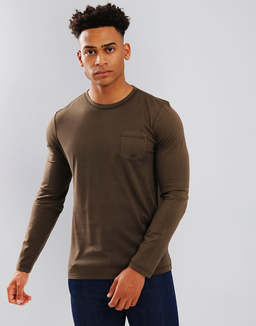 C.P. Company Mako Cotton Long Sleeve Pocket T-Shirt in Cloudburst