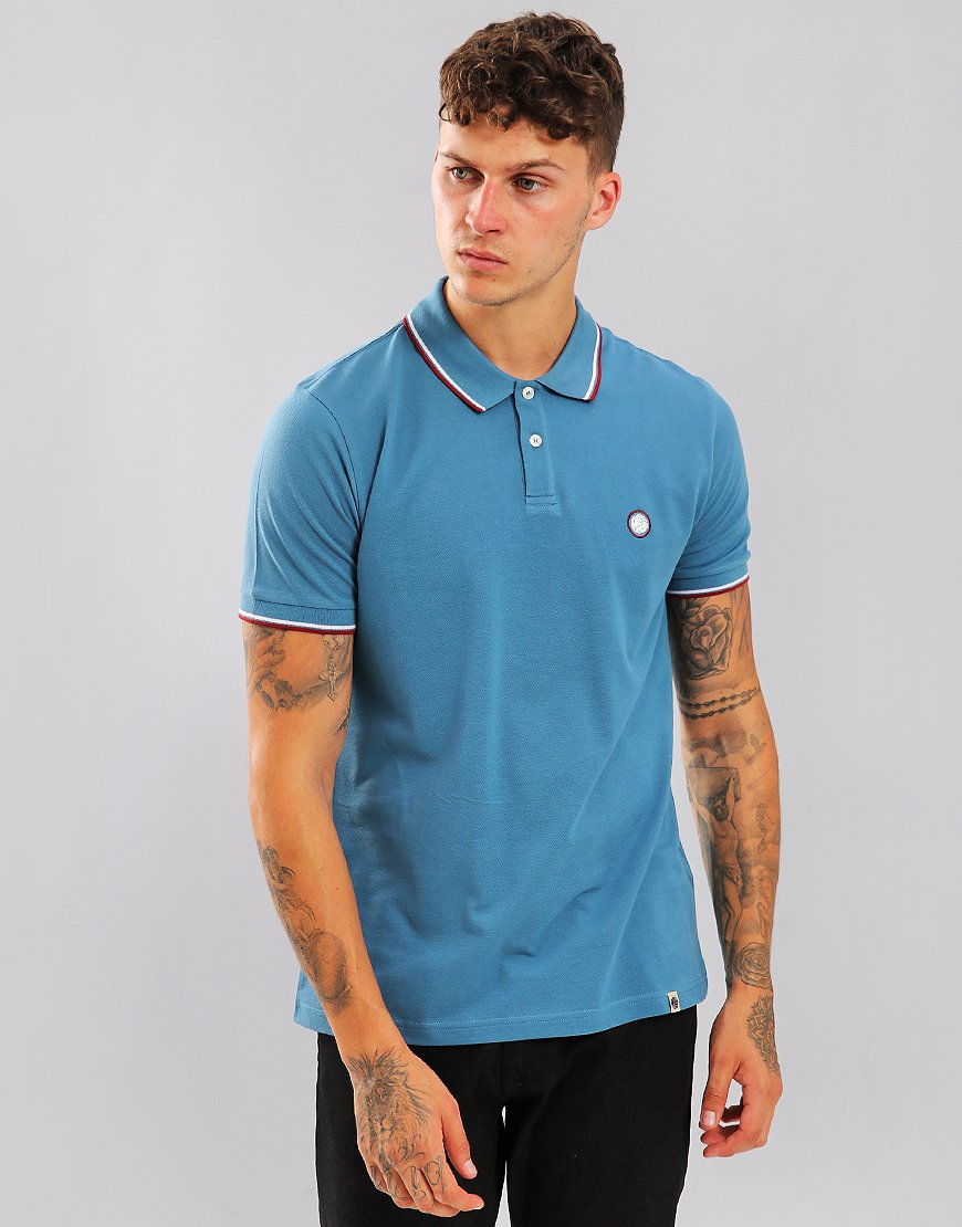 Pretty Green Short Sleeved Barton Polo Shirt Blue