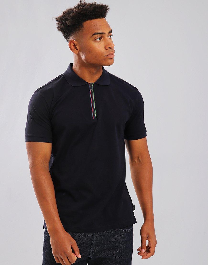 Paul Smith Cycle Stripe Zip Polo Shirt Dark Navy