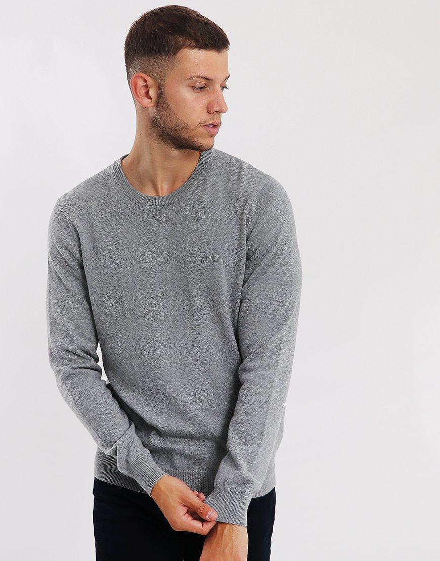 Armani Jeans Cotton/Wool Crew Knit Grey Melange