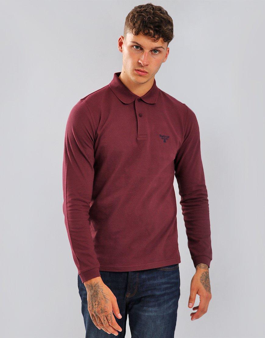 Barbour Beacon Long Sleeve Polo Shirt Merlot