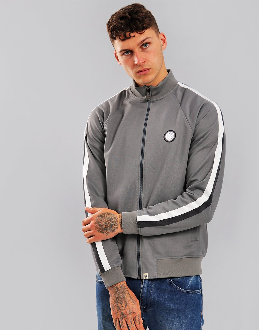 Pretty Green Tilby Track Top Grey Marl
