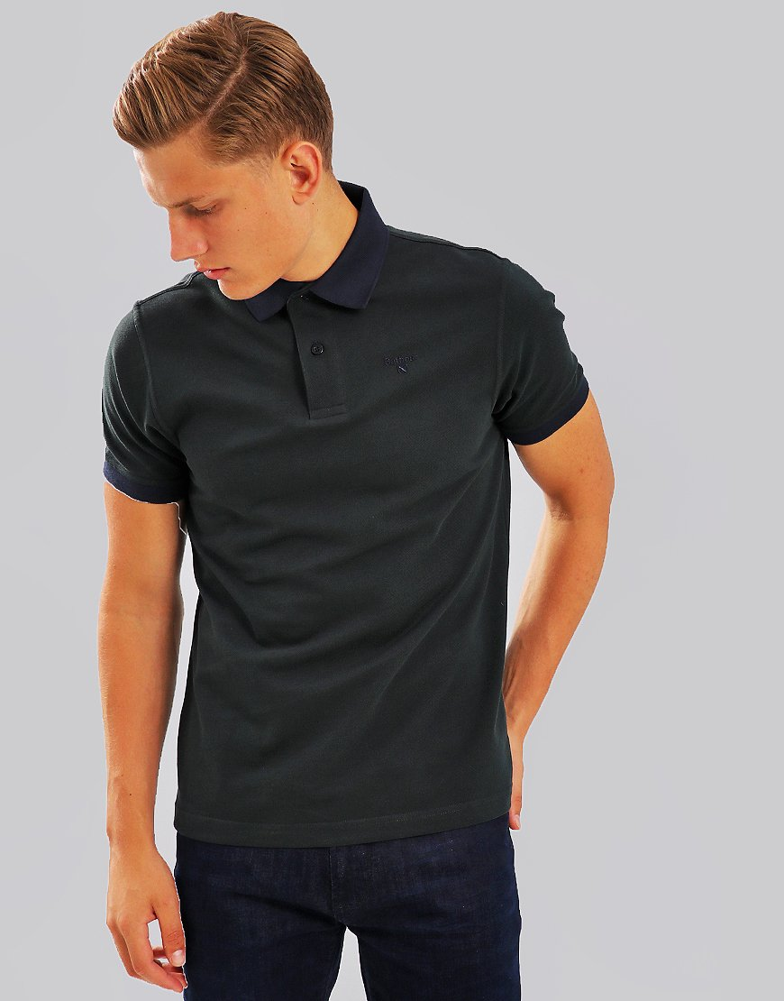 Barbour Sports Mix Polo Shirt Dark Seaweed