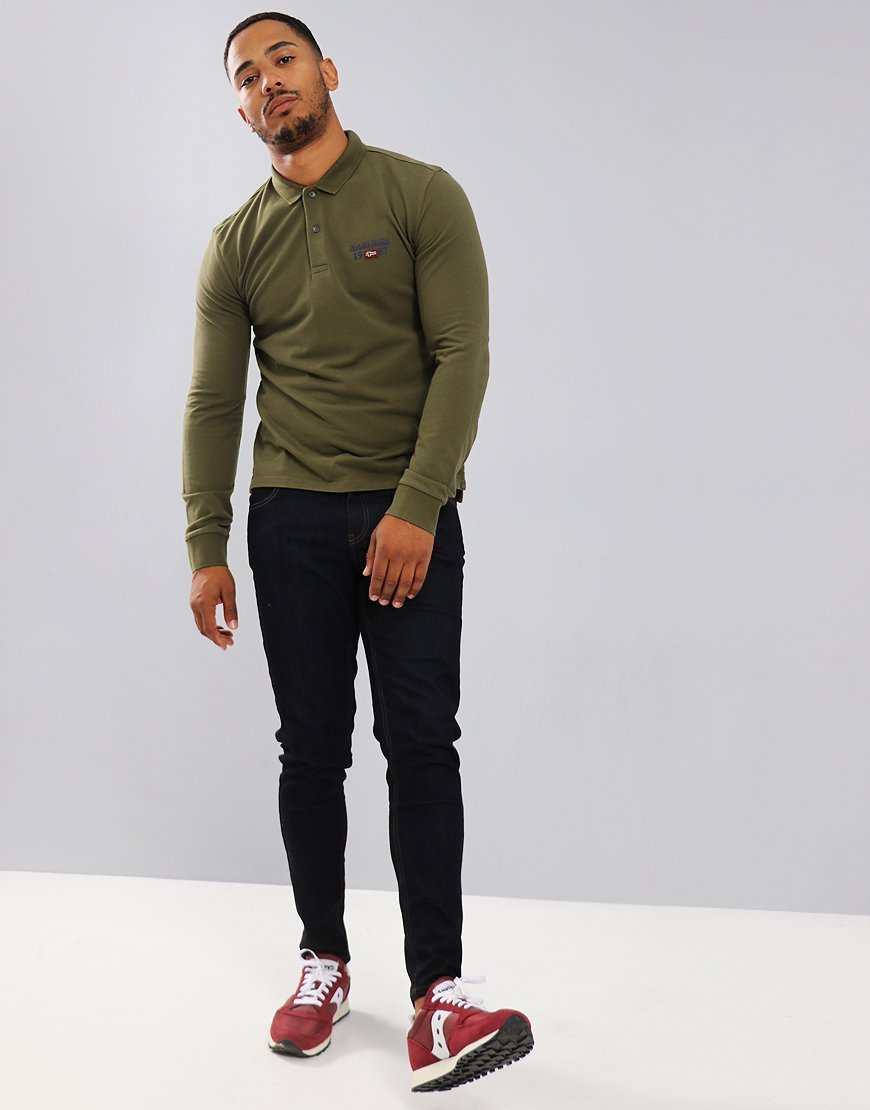 Napapijri Long Sleeve Erthow Polo Shirt Green Musk