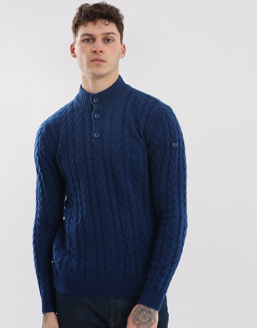 Weekend Offender Berenger Cable Button Neck Knit Blue Denim
