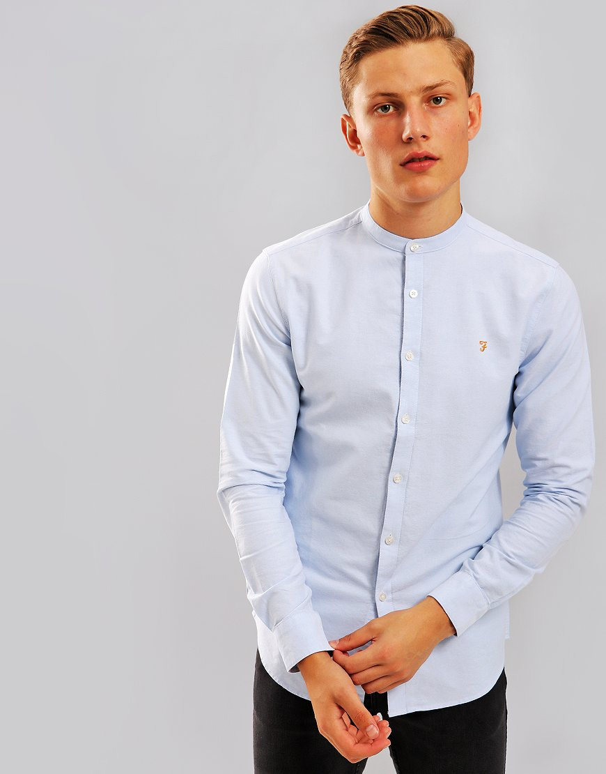 Farah Brewer Slim Grandad Shirt Sky Blue
