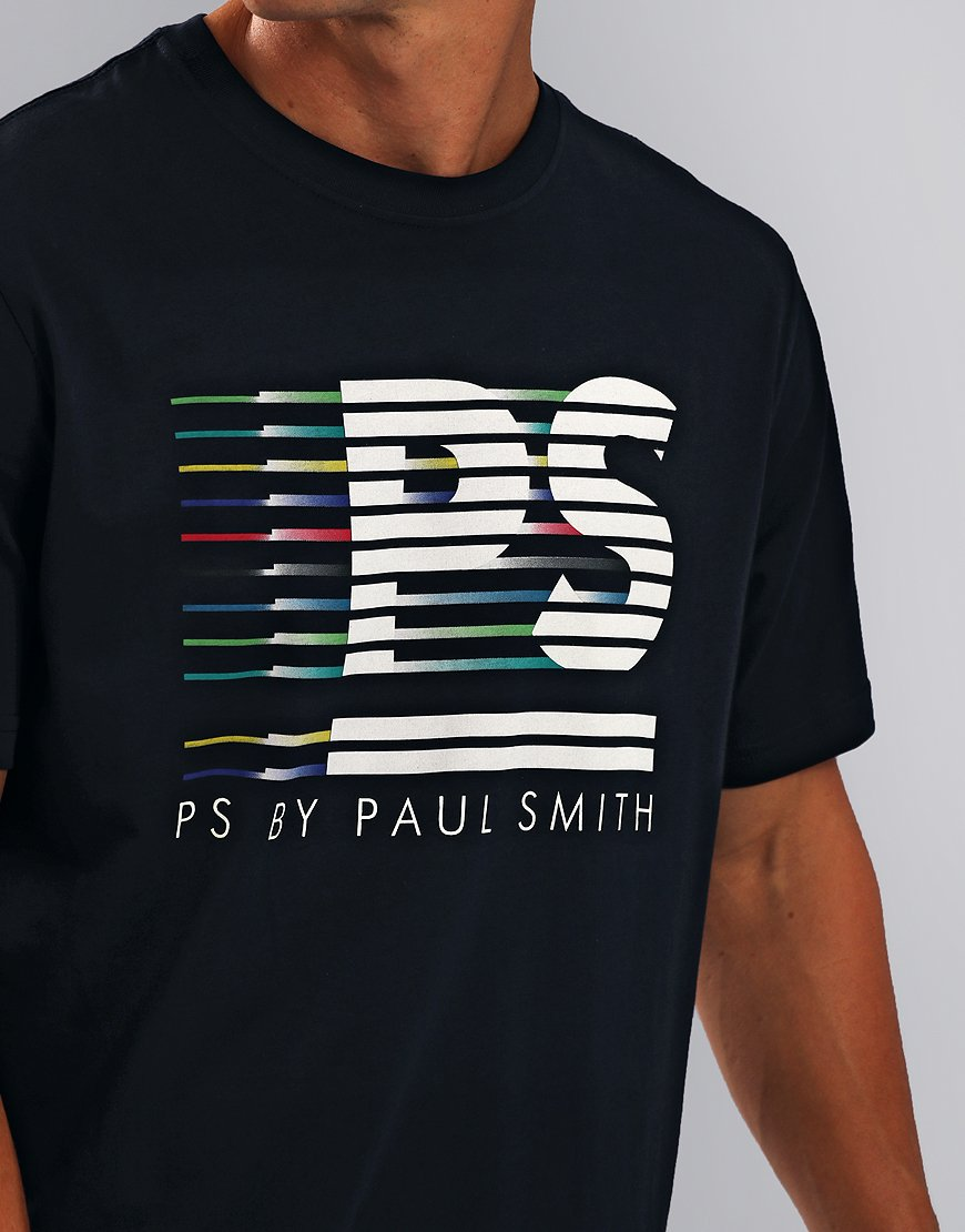 Paul Smith PS Stripe Print T-Shirt Navy