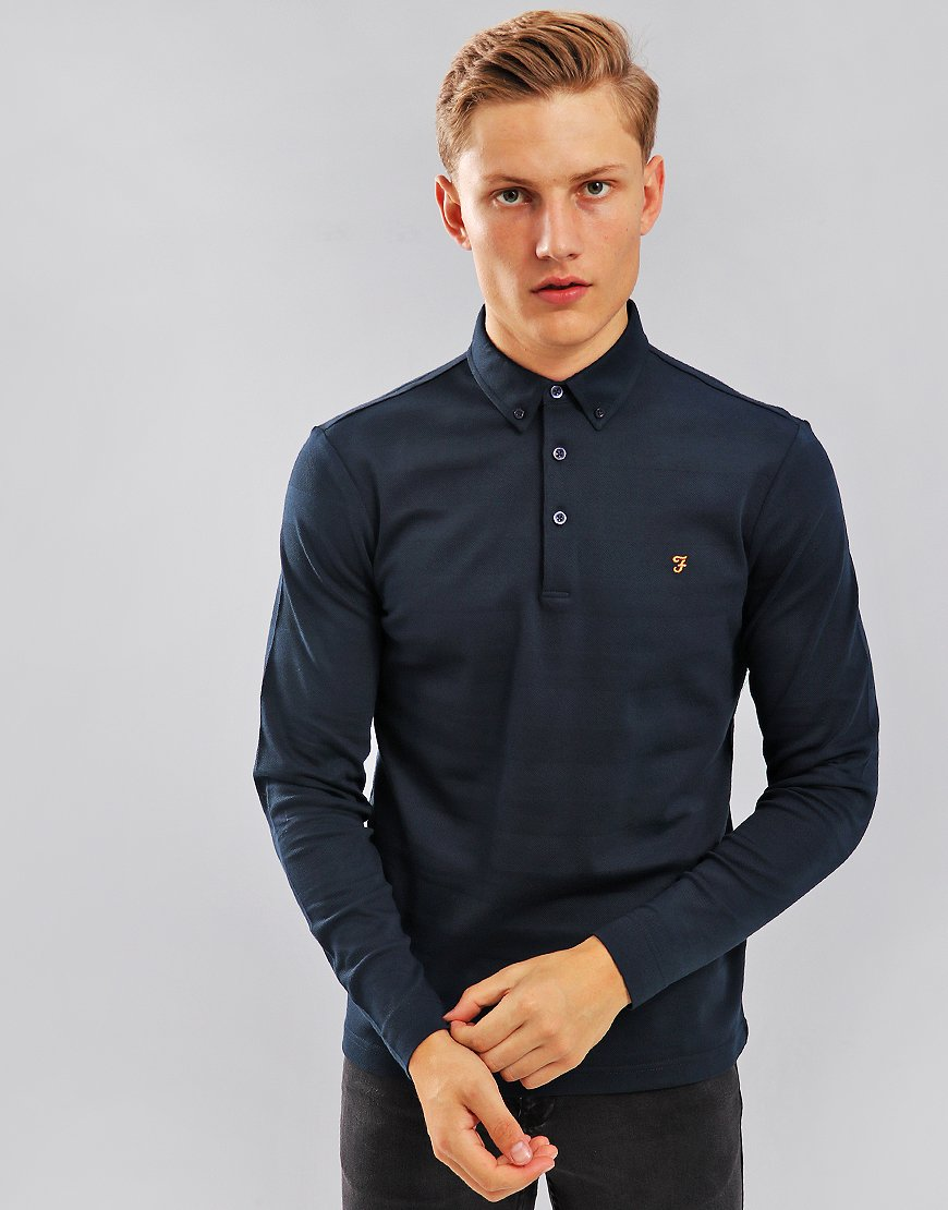Farah Stapleton Long Sleeve Polo Shirt Navy