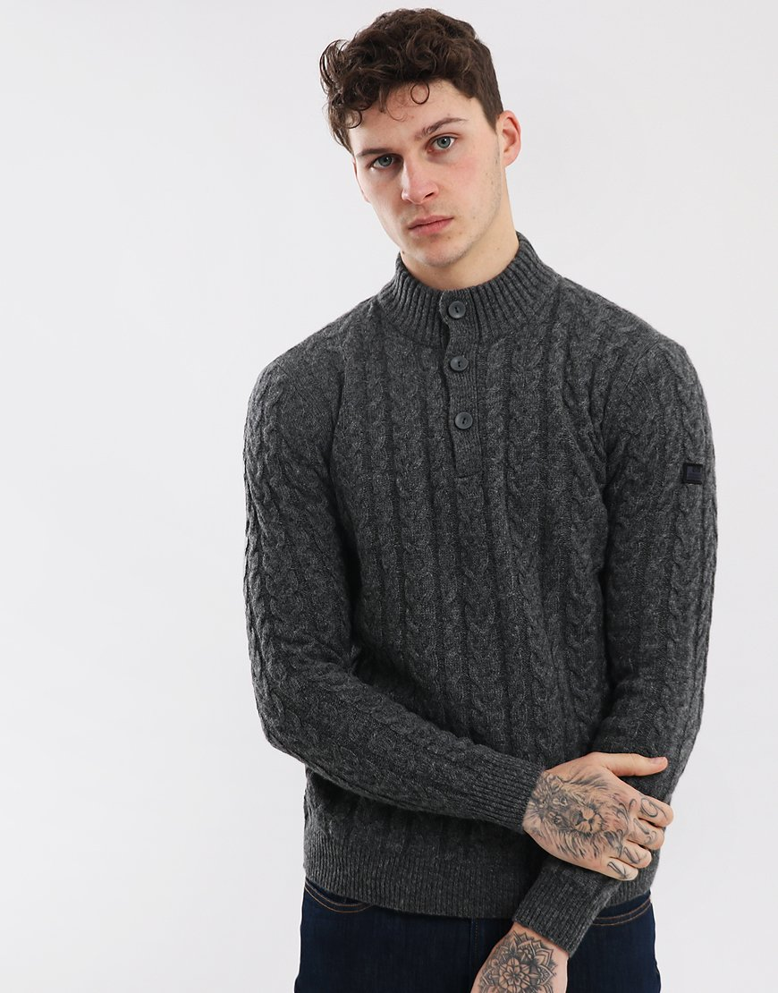 Weekend Offender Berenger Cable Button Neck Knit Grey