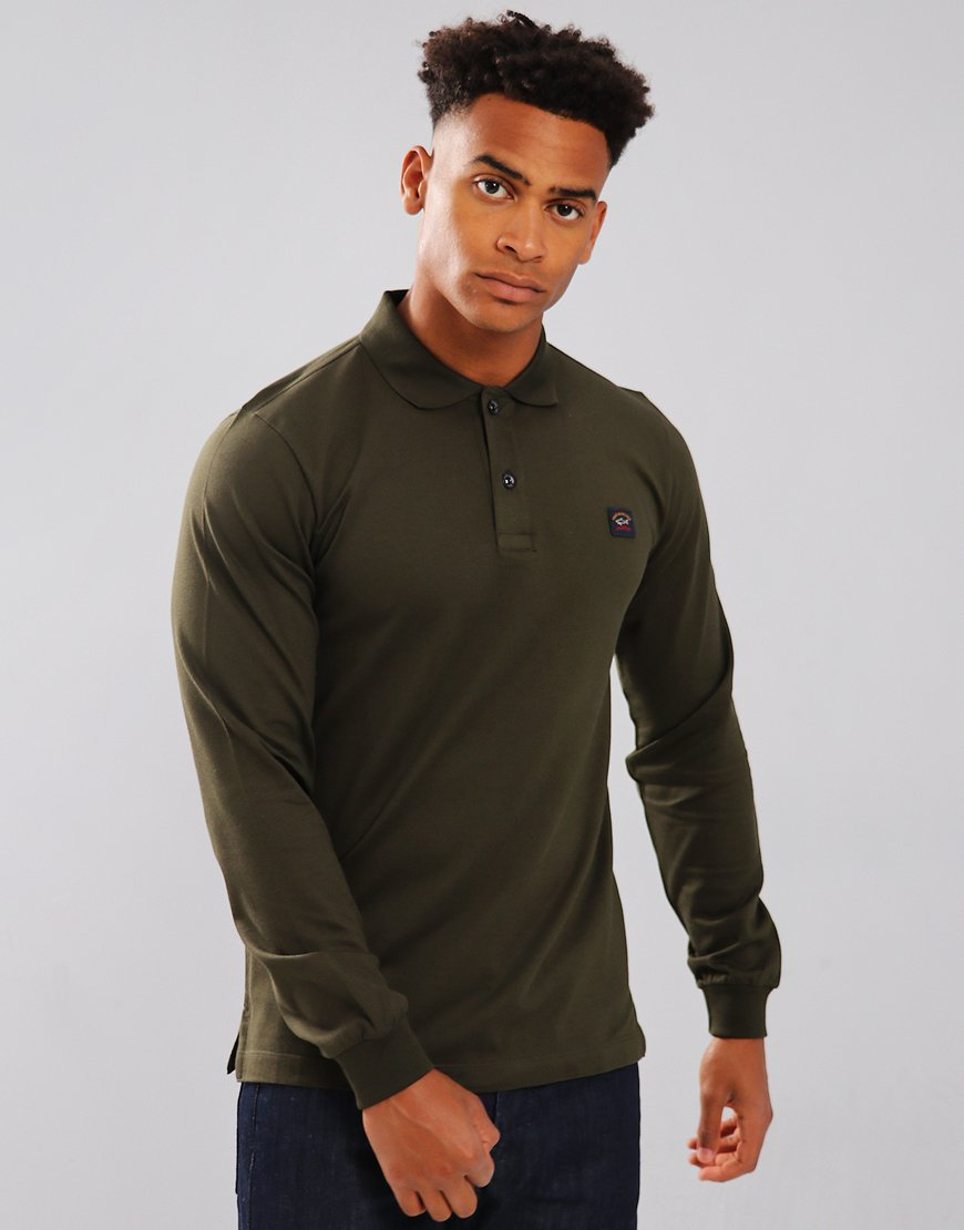 Paul & Shark Long Sleeve Polo Shirt Military Green