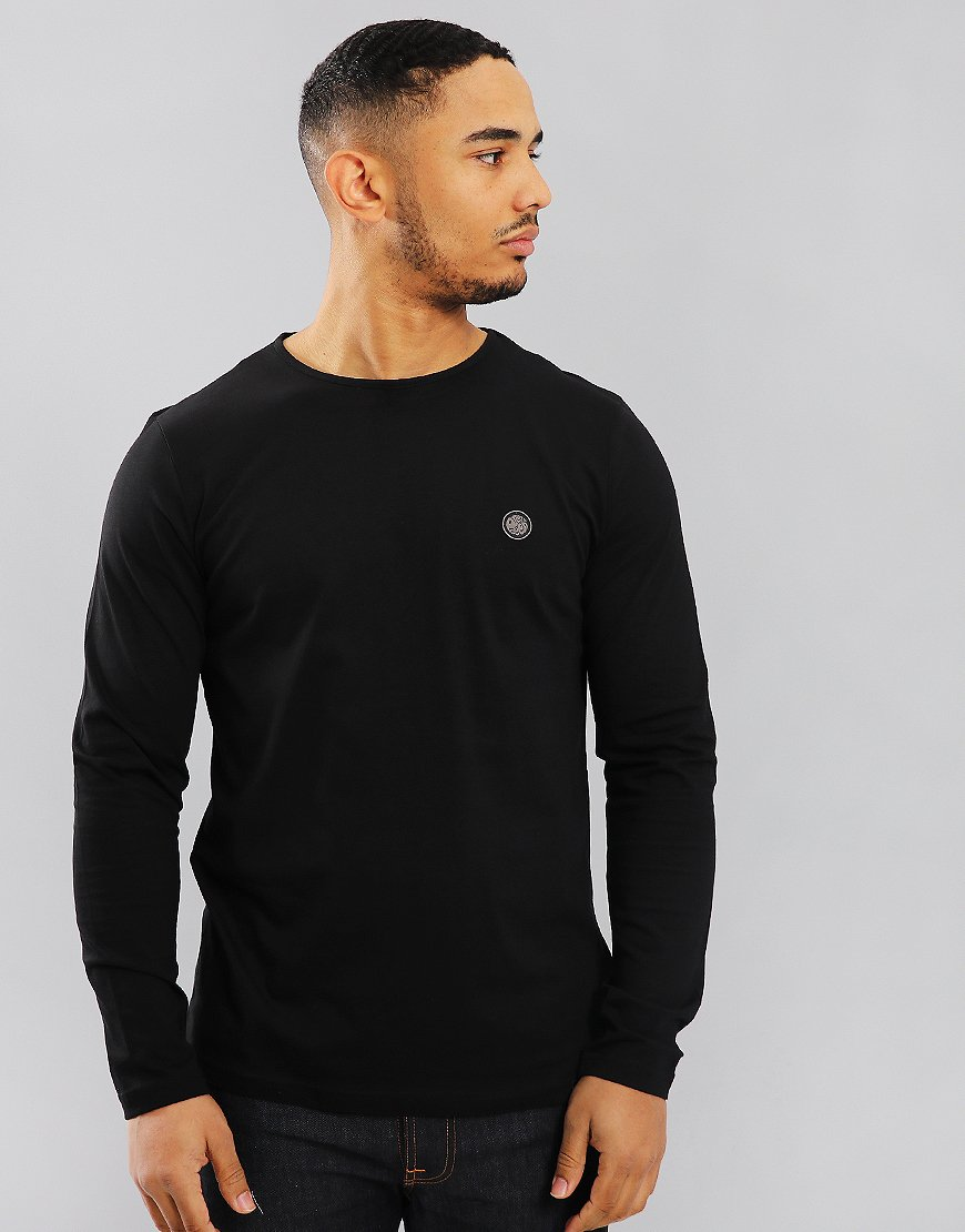Pretty Green Long Sleeved Mitchell Logo T-Shirt Black