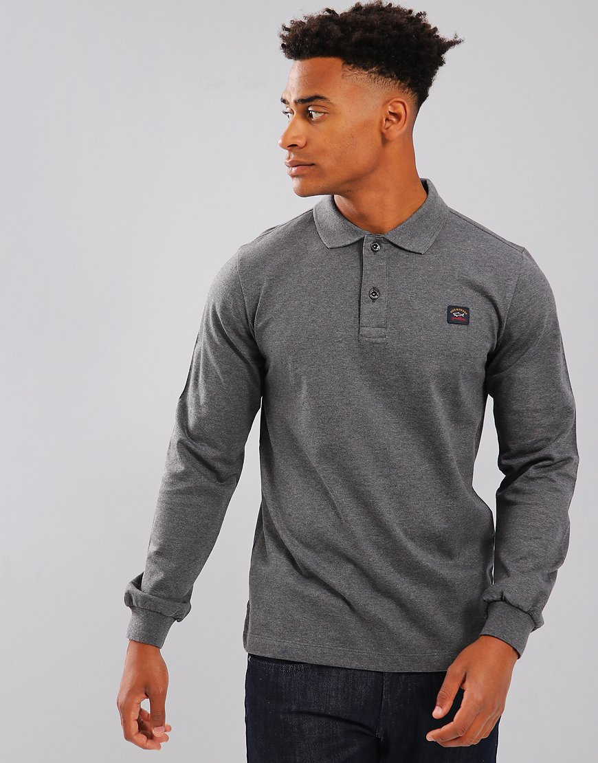 Paul & Shark Long Sleeve Polo Shirt Grey