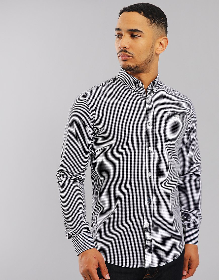 Weekend Offender Poe Check Shirt Navy/White