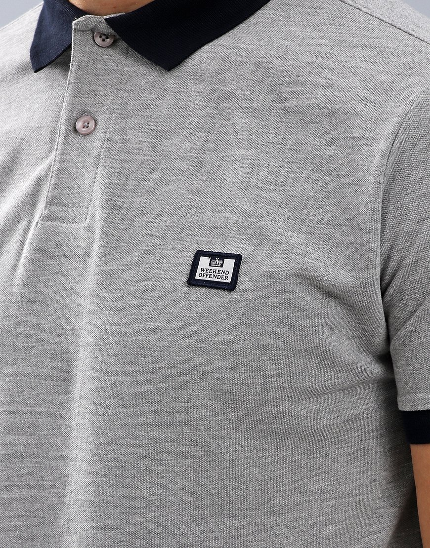 Weekend Offender Gibson Polo Shirt Grey Marl