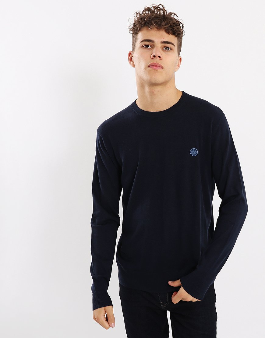 7ccbb88ec Pretty Green Hinchcliffe Crew Knit Navy - Terraces Menswear